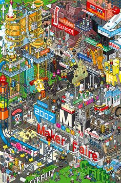 If you are a fan of Waldo, then these pixel art illustrations will appeal to you! They are so detailed and very cool! Art And Illustration, Illustrations And Posters, Pixel City, 8bit Art, Isometric Art, Arte Popular, Cute Wallpapers, Game Art, Amazing Art