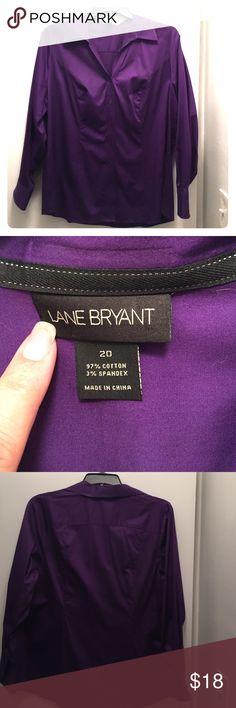Lane Bryant Purple Blouse Cotton blend. Vibrant violet purple, button front, button sleeve, sculpted bust. Worn once, like new. Lane Bryant Tops Button Down Shirts