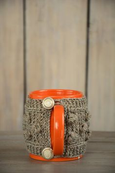 Tea cozy Knitted Mug Cosie  Natural Wool Mug by HandiCraftbyJane