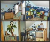 Boys pirate nursery using ahoy mate bedding