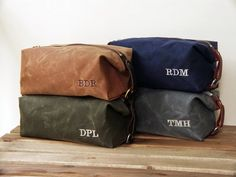 Handmade Men's Dopp Kit, Gift for Him, Toiletry Travel Bag, Personalized Groomsmen Gift, All American Waxed Cotton Canvas and Leather