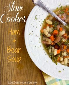 Delicious Slow Cooker Ham and Bean Soup using two types of beans, carrots, onion and kale. This recipe is great for cold winter evenings. And the slow cooker does all the work resulting in a delicious meal.