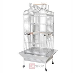 """32""""x30""""x61"""" Large Parrot Bird Cages House Open Playtop Dome Top White Vein"""