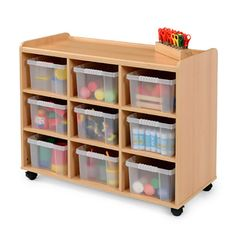 Storage Unit   9 Clear Tubs - Designed to meet the demands of the classroom, this storage unit is manufactured from 15mm mfc with a contemporary beech finish.