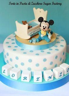 Baby Mickey Mouse Cake Baby Mickey Mouse Cake, Festa Mickey Baby, Mickey Mouse Birthday Decorations, Bolo Minnie, Mickey Cakes, Mickey Birthday, Torta Baby Shower, Pastel Mickey, Disney Themed Cakes