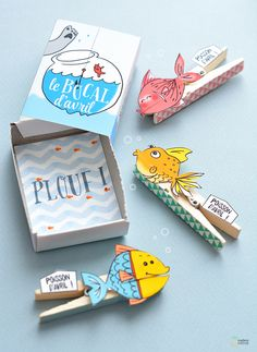 DIY Kids Craft - Fish tongs with free printable {French} Matchbox Crafts, Matchbox Art, Paper Art, Paper Crafts, Cat Crafts, Little Presents, Diy Box, Diy For Kids, Diys