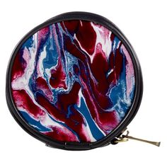 Blue Red White Marble Pattern Mini Makeup Bags