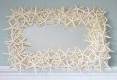 STUNNING ALL WHITE STARFISH MIRROR---easy, dollar store or michaels, hot glue hun!
