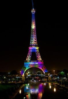 "audreylovesparis: "" Paris mayor Anne Hidalgo tweeted: ""Paris stands with Orlando. Tonight, The Eiffel Tower will be illuminated in the LGBT colours in honour of the victims #lovewins."" """