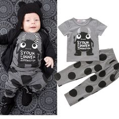 49c94fe0817d5 2pcs Newborn Toddler Infant Kids Baby Boy Clothes T-shirt Tops+Pants Outfits  Set