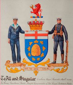 Arms of Admiral of the Fleet David Richard Beatty, 1st Earl Beatty GCB, OM, GCVO, DSO, PC (1871 – 1936).