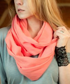 Another great find on #zulily! Melon Gauze Infinity Scarf #zulilyfinds