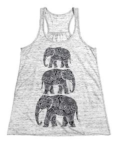 Look at this White Marble Stacked-Elephant Racerback Tank on #zulily today!