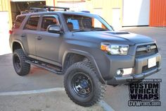 We wrapped a Toyota with a matte black Avery Supercast Laminate & DOL Gloss vehicle wrap. Check it out! Toyota 4x4, Toyota Autos, Toyota Trucks, Toyota Vehicles, Toyota Girl, Suv Trucks, Lifted Trucks, Cool Trucks, 4th Gen 4runner