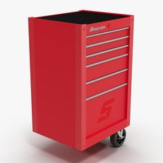 3D Tool Storage End Red - 3D Model