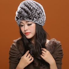 Casual Striped Knitted Rabbit Fur Hat