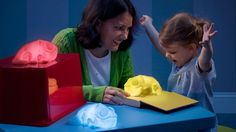 Huey the Color Copying Chameleon Lamp identifies any color that it's placed on, then glows in that color.