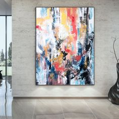 Hand-Painted Color Block Abstract Oil Canvas Painting   Etsy Colorful Paintings, Your Paintings, Original Paintings, Original Art, Bedroom Paintings, Abstract Canvas Art, Large Canvas Wall Art, Abstract Oil, Oversized Wall Art