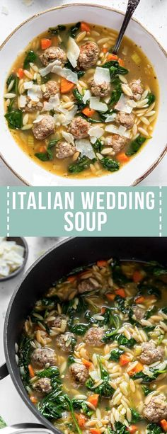 Italian Wedding Soup is a delicious Italian. Italian Wedding Soup is a delicious Italian soup made with meatballs fresh baby spinach vegetables and a few simple seasonings! Try this classic soup for dinner that is made on the stovetop. Italian Soup Recipes, Italian Wedding Soup Recipe, Best Soup Recipes, Chili Recipes, Dinner Recipes, Slow Cooking, Cooking Recipes, Healthy Cooking, Beef And Pork Meatballs