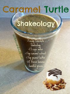 this Caramel Turtle Shakeology recipe! The perfect blend of caramel, chocolate, and peanut butter with a super healthy twistTry this Caramel Turtle Shakeology recipe! The perfect blend of caramel, chocolate, and peanut butter with a super healthy twist Protein Shake Recipes, Protein Shakes, Smoothie Recipes, Protein Smoothies, Juice Recipes, Fruit Smoothies, Drink Recipes, Yummy Recipes, Recipies