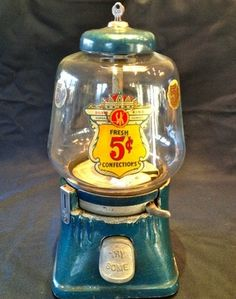 Vintage 1940's All Original Silver King Blue 5c Gumball Candy Vending Machine |