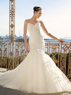 Organza Fit N Flare Sweetheart Floor Length Wedding Dresses With Ruching
