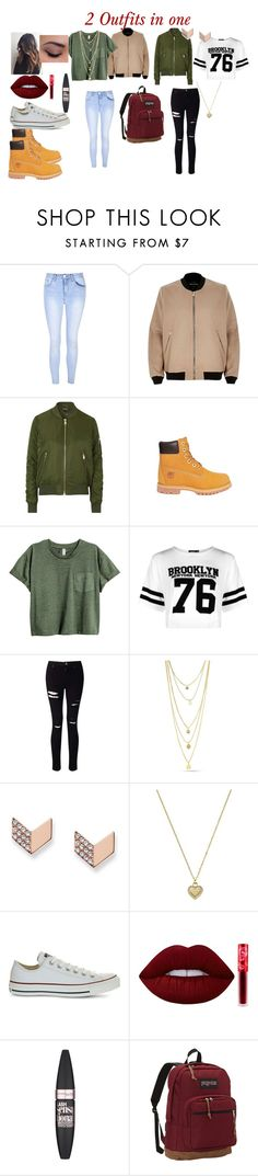 """2 outfits in on"" by mylife-585 ❤ liked on Polyvore featuring Glamorous, River Island, Topshop, Timberland, Boohoo, Miss Selfridge, FOSSIL, Michael Kors, Converse and Lime Crime"