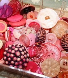 Pink, vintage, celluloid buttons