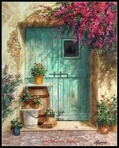 Decoration Entree, Old Doors, Belle Photo, Painting Inspiration, Watercolor Paintings, Watercolour, Windows, Landscape, Drawings