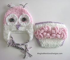 Owl Ear Flap Beanie Cap Hat and Diaper Cover for Newborn Baby Handmade, Photo Prop, Baby Gift - Different Sizes Available Custom Made $24.00
