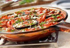 Layered Eggplant, Tomato & Cheese with Creamy Vodka Sauce