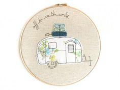 Embroidery Hoop Art - \\\'Airstream Bambi\\\' Caravan in Blue