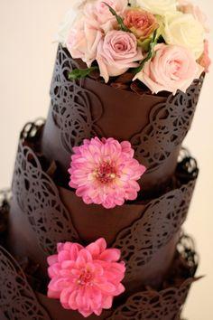 Chocolate Wedding Cake rose, pink flowers, lace cakes, chocolates, color, white chocolate, chocolate wedding cakes, chocolate cakes, design