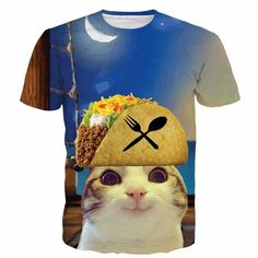 Pirate Greedy Tacos Kitten Cat Funny Casual Blue 3D T-Shirt. #Pirate #Greedy #Tacos #Kitten #Cat #Funny #Casual #Blue #3D #T-Shirt