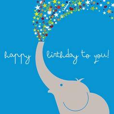 print & pattern: CARDS - ella and george Happy Birthday Elephant, Happy Birthday Art, Happy Birthday Messages, Happy Birthday Images, Birthday Love, Happy Birthday Greetings, Birthday Pictures, Birthday Blessings, Birthday Posts