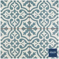 Berkeley 17 3/4 x 17 3/4 Patterned Tile shown in the Blue color | Available at Avalon Flooring | Starting at $5.99/square foot | #patternedtile #tildesign #interiordesign