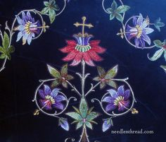 Embroidery on Velvet - church embroidery, vivid colors, dark background