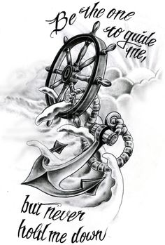 Wheel and Anchor Art | Octopus And Anchor Drawing Tumblr Anchor and helm by crazy-tatts