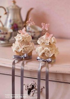 Frilly Cupcakes with Fluttering Butterflies.
