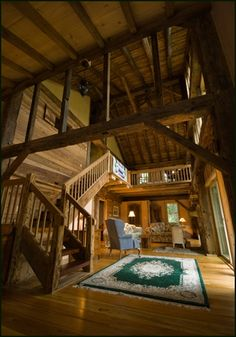 Barn Home Conversion, Love all the beams and wood, wood, wood!