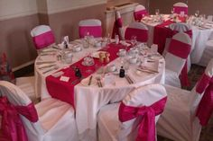 Hot Pink Taffeta Chair Sashes with matching Table Runner.  www.prepare2partyevents.co.uk