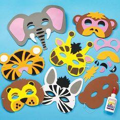 Jungle Animal Foam Mask Craft Kits (Monkey, Tiger, Lion, Elephant, Zebra, Giraffe) for Kids to Make & Wear (Pack of 6) Baker Ross