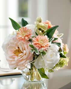 Color Inspiration   Peaches & Cream Silk Flower Arrangement MIXED SOFT