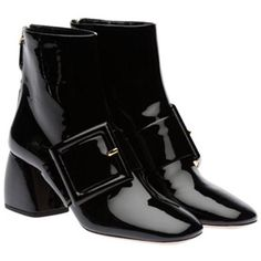 Patent Buckle Boots ($49) ❤ liked on Polyvore featuring shoes, boots, buckle boots, patent boots, patent shoes, patent leather shoes and patent leather boots