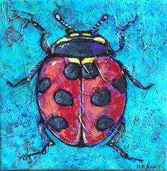 Ladybug Painting Animal Art Acrylic on by DinaFarrisAppelArt