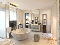 [Bathroom] : Modern Marble Bathroom With Mable Bowl Tub Along With Mahogany Wood Vaneties With White Marble Countertop Together With Stainless Steel Gold Sink Windows And White Wall Ceramic Also Mounting Fitting Vase Modern Marble Bathroom, Slate Bathroom, Marble Bathtub, Stone Bathtub, Eclectic Bathroom, Modern Shower, Bathroom Interior, Large Bathrooms, Dream Bathrooms