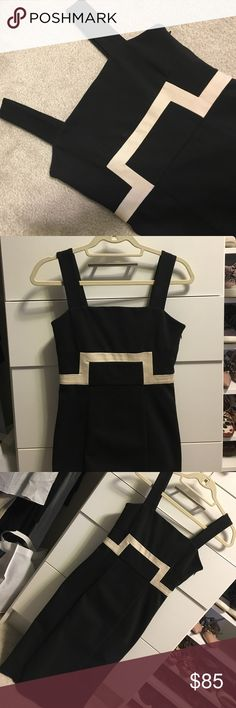 DVF dress Amazing DVF form fitting dress with flattering white detail. Perfect condition except for the slight mark above white line...it's actually the makeup of the fabric and not a stain. Not really noticeable when on. Diane von Furstenberg Dresses Midi