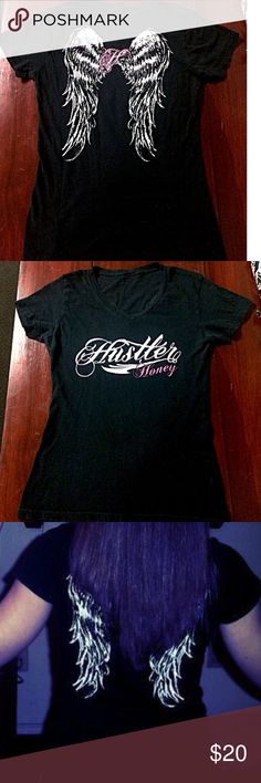Hustler V Neck Shirt *I LOVE OFFERS* Bought this shirt at Hastings. Love it. Has wings on the back. No holes. No stains. Good condition. Hustler Tops
