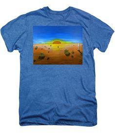 Mars Men's Premium T-Shirt featuring the painting Walking On Mars #2 by Mario Perron #Artist @ 1-mario-perron.pixels.com  #clothing #art #style