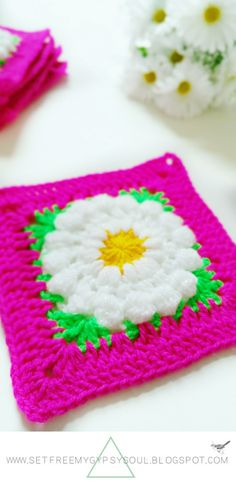 Daisy Dukes Flower Granny Square | Free Crochet Pattern - Add a little sass and texture to your crochet projects with this pretty floral folk art inspired 'Daisy Dukes' Granny Square made using treble crochet, Puff stitch and Bobble/Popcorn stitch.